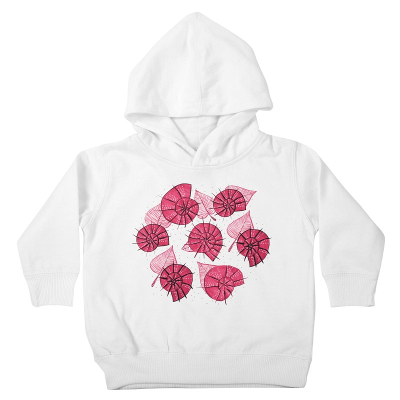 Pink Snails And Leaves Ink Drawing Kids Toddler Pullover Hoody by Boriana's Artist Shop