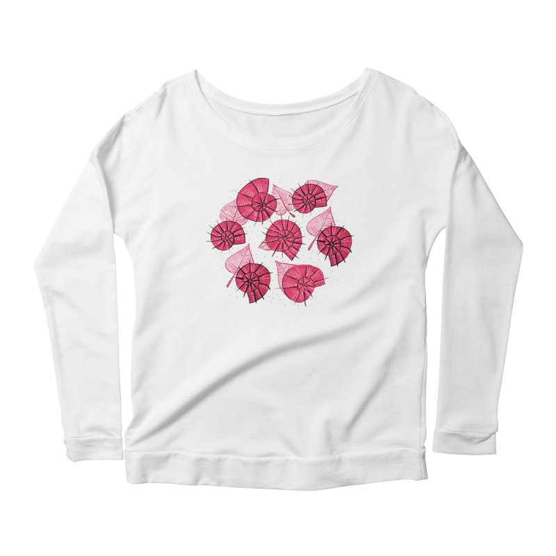 Pink Snails And Leaves Ink Drawing Women's Scoop Neck Longsleeve T-Shirt by Boriana's Artist Shop