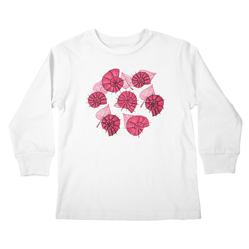 Pink Snails And Leaves Ink Drawing Kids Longsleeve T-Shirt by Boriana's Artist Shop