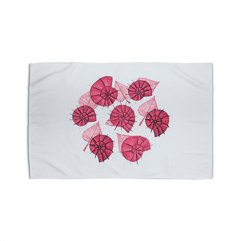 Pink Snails And Leaves Ink Drawing Home Rug by Boriana's Artist Shop