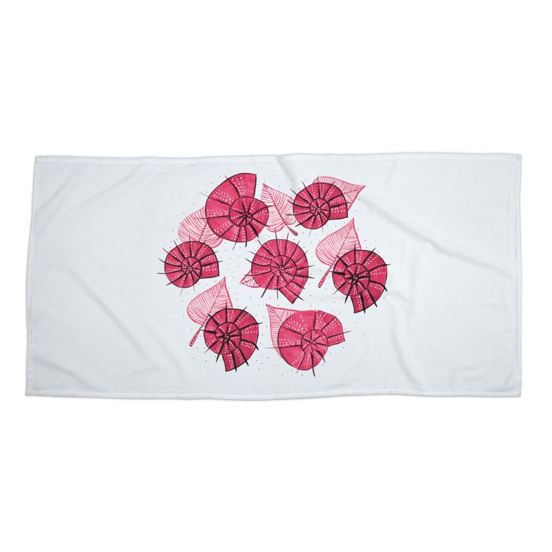 Pink Snails And Leaves Ink Drawing Accessories Beach Towel by Boriana's Artist Shop