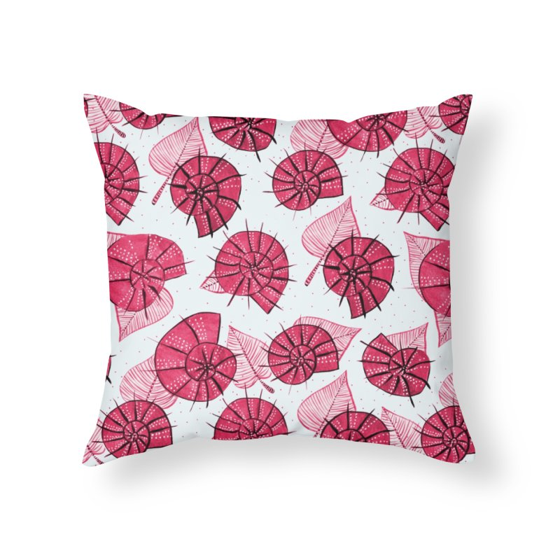Pink Snails And Leaves Ink Drawing Home Throw Pillow by Boriana's Artist Shop