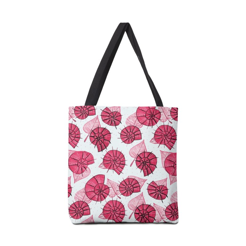 Pink Snails And Leaves Ink Drawing Accessories Tote Bag Bag by Boriana's Artist Shop