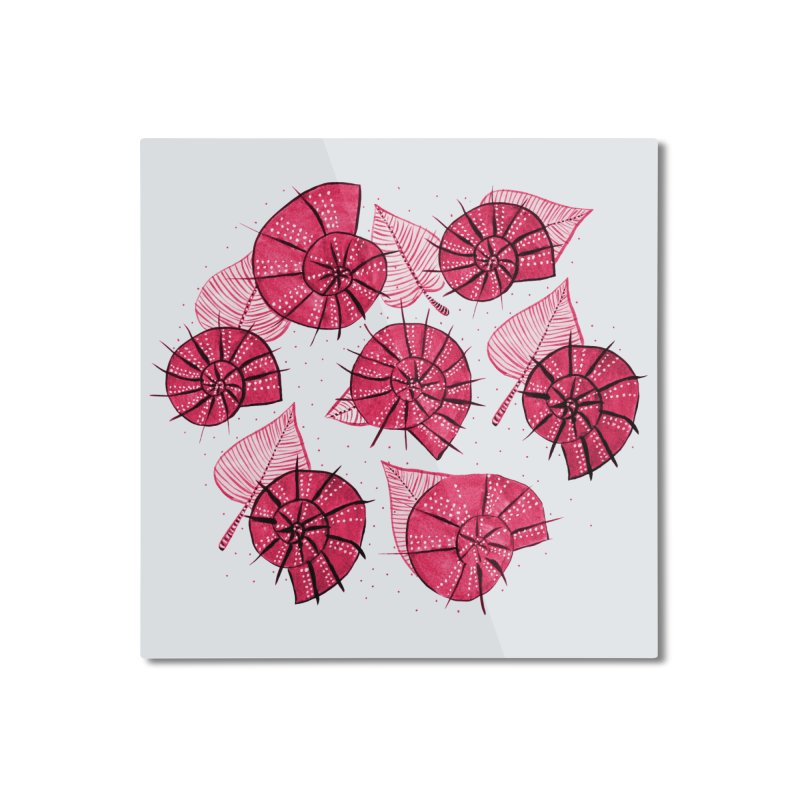 Pink Snails And Leaves Ink Drawing Home Mounted Aluminum Print by Boriana's Artist Shop