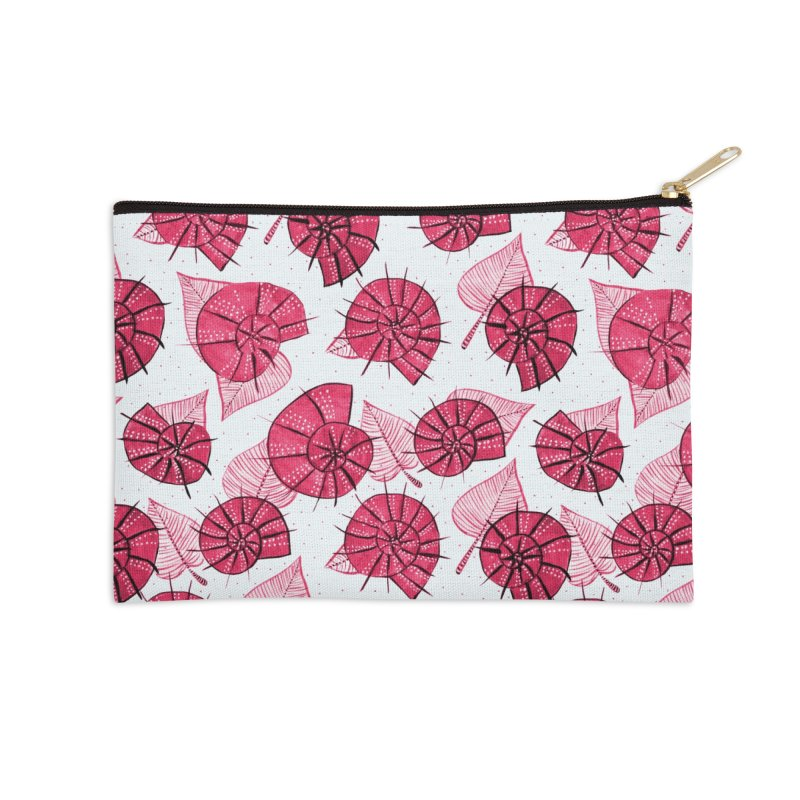 Pink Snails And Leaves Ink Drawing Accessories Zip Pouch by Boriana's Artist Shop