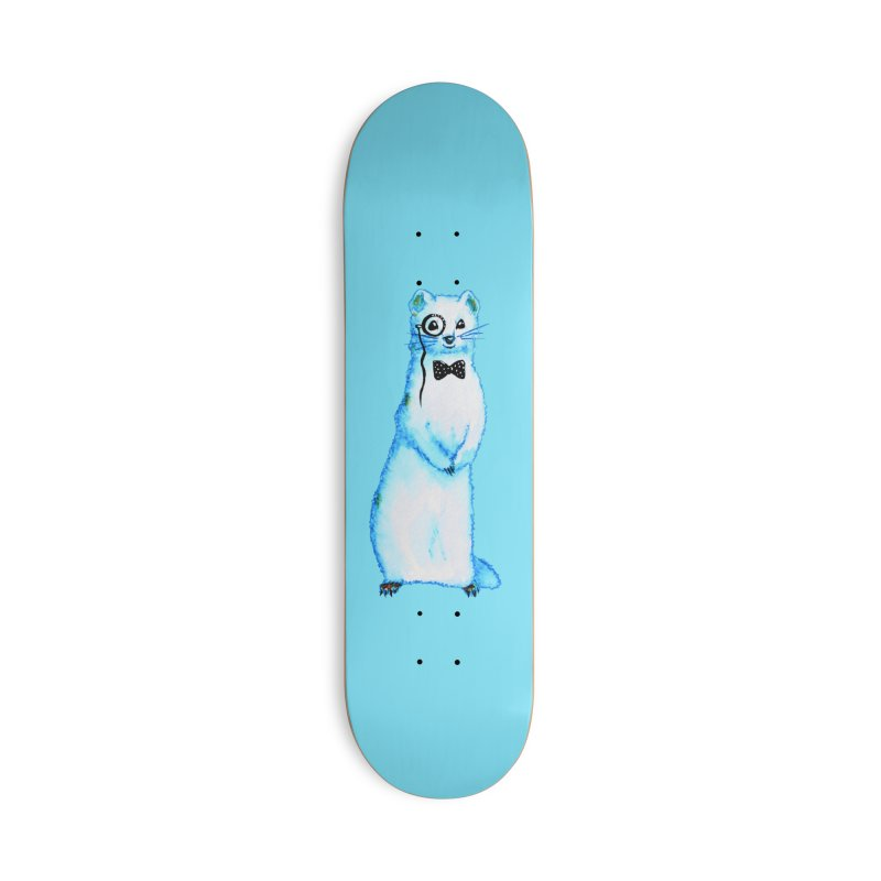 White Ferret With Monocle And Bow Tie Watercolor Drawing Accessories Deck Only Skateboard by Boriana's Artist Shop