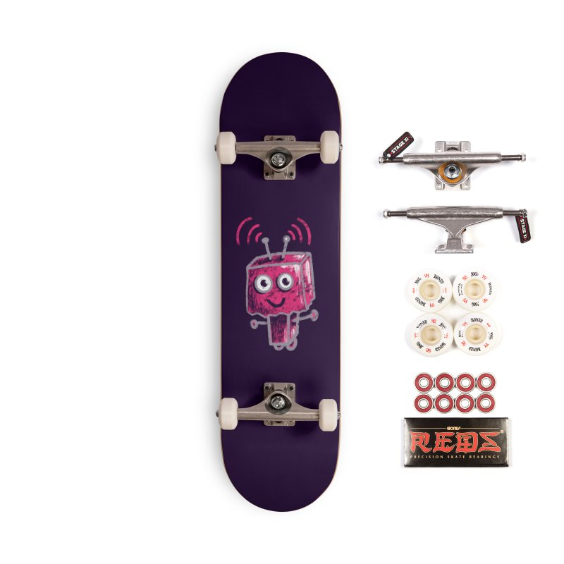 Cute Ugly Pink Robot With Paper Bag Head Accessories Complete - Pro Skateboard by Boriana's Artist Shop