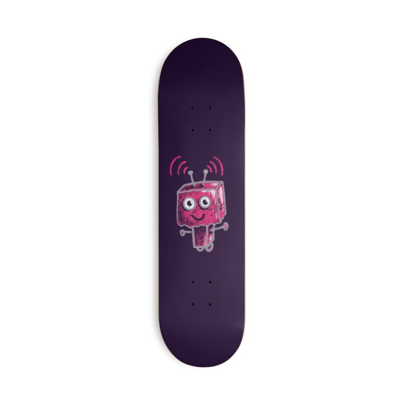 Cute Ugly Pink Robot With Paper Bag Head Accessories Deck Only Skateboard by Boriana's Artist Shop