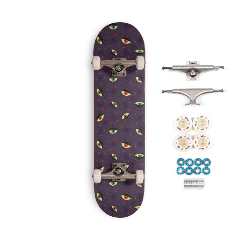 Witch Eyes Spooky Retro Pattern Accessories Complete - Premium Skateboard by Boriana's Artist Shop