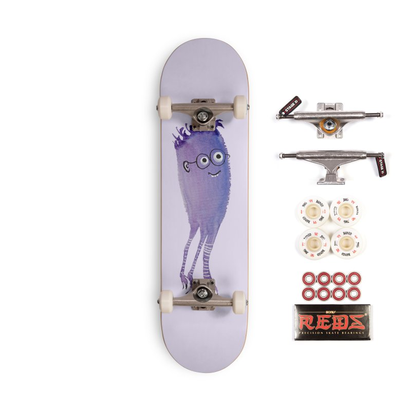 Funny Monster With Nerd Glasses Accessories Complete - Pro Skateboard by Boriana's Artist Shop