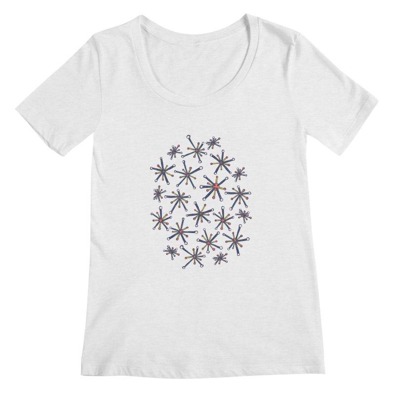 Virus Pattern Resembling Molecules - Retro Modern Microbiology Fun Women's Regular Scoop Neck by Boriana's Artist Shop