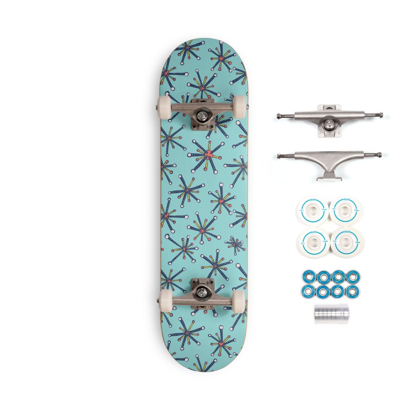 Virus Pattern Resembling Molecules - Retro Modern Microbiology Fun Accessories Complete - Basic Skateboard by Boriana's Artist Shop