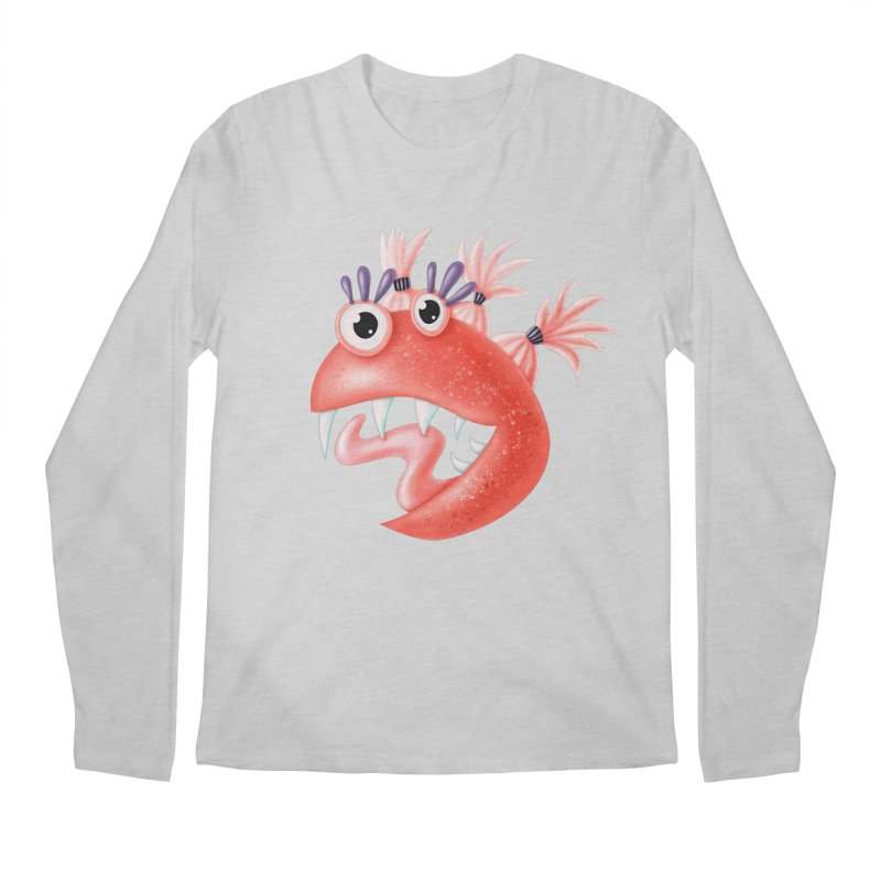 Funny Monster Silly Creature With Ponytails Men's Regular Longsleeve T-Shirt by Boriana's Artist Shop