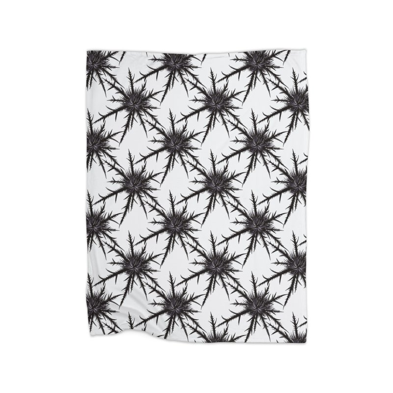 Dry Thistle With Sharp Thorns Botanical Art Home Fleece Blanket Blanket by Boriana's Artist Shop