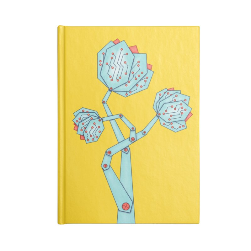Electronic Flowers Circuit Board Petals Accessories Blank Journal Notebook by Boriana's Artist Shop