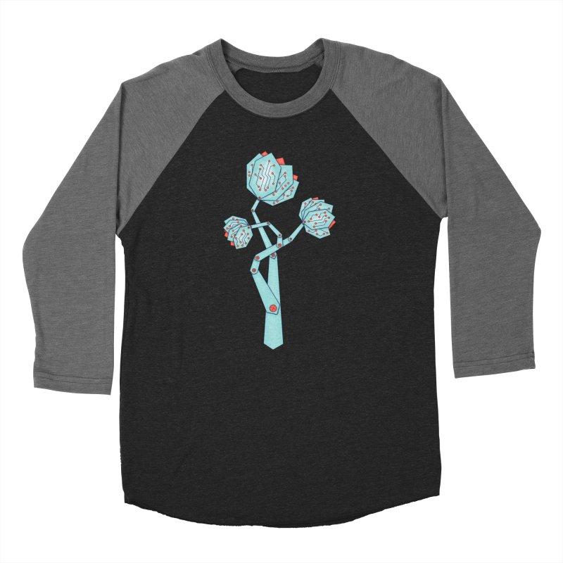 Electronic Flowers Circuit Board Petals Women's Baseball Triblend Longsleeve T-Shirt by Boriana's Artist Shop