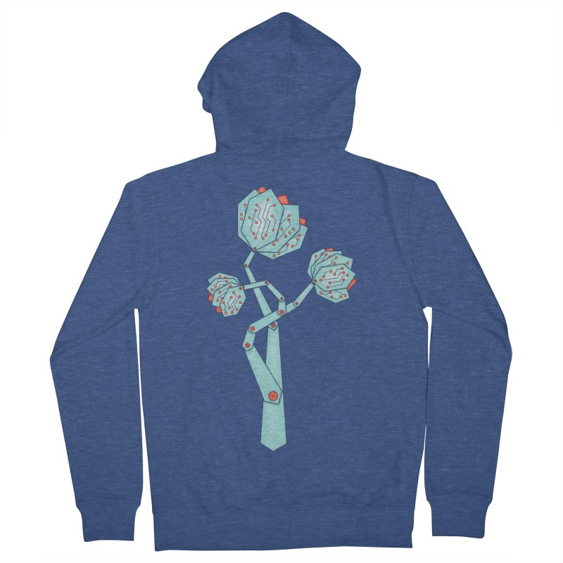 Electronic Flowers Circuit Board Petals Women's French Terry Zip-Up Hoody by Boriana's Artist Shop