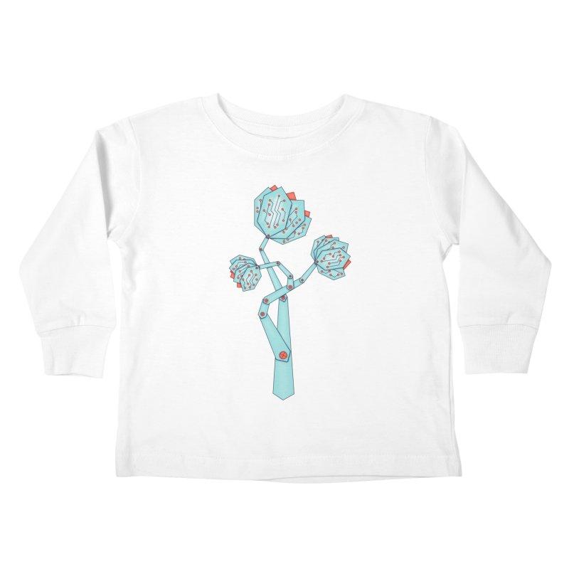 Electronic Flowers Circuit Board Petals Kids Toddler Longsleeve T-Shirt by Boriana's Artist Shop