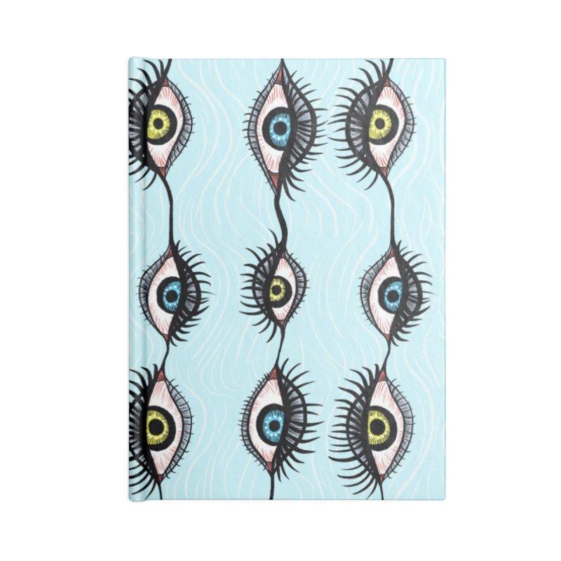 Creepy Weird Eye Garlands Surreal Art Accessories Lined Journal Notebook by Boriana's Artist Shop