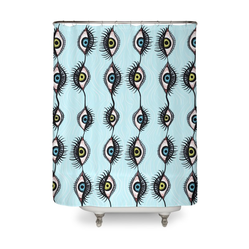 Creepy Weird Eye Garlands Surreal Art Home Shower Curtain by Boriana's Artist Shop