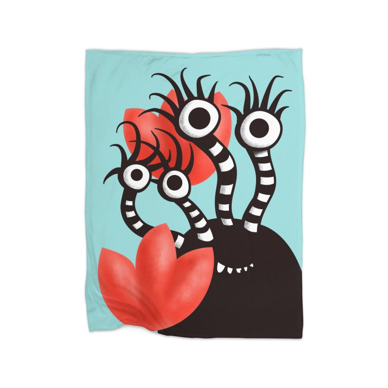 Cute Black Monster With Abstract Tulips Home Fleece Blanket Blanket by Boriana's Artist Shop