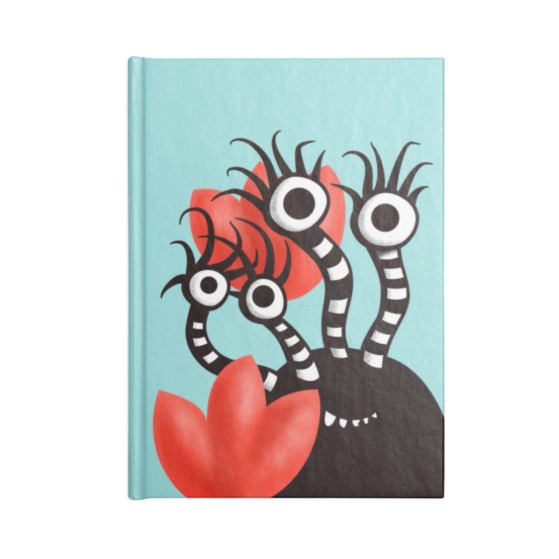 Cute Black Monster With Abstract Tulips Accessories Lined Journal Notebook by Boriana's Artist Shop