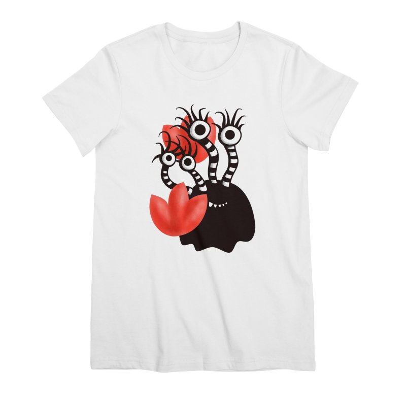 Cute Black Monster With Abstract Tulips Women's T-Shirt by Boriana's Artist Shop