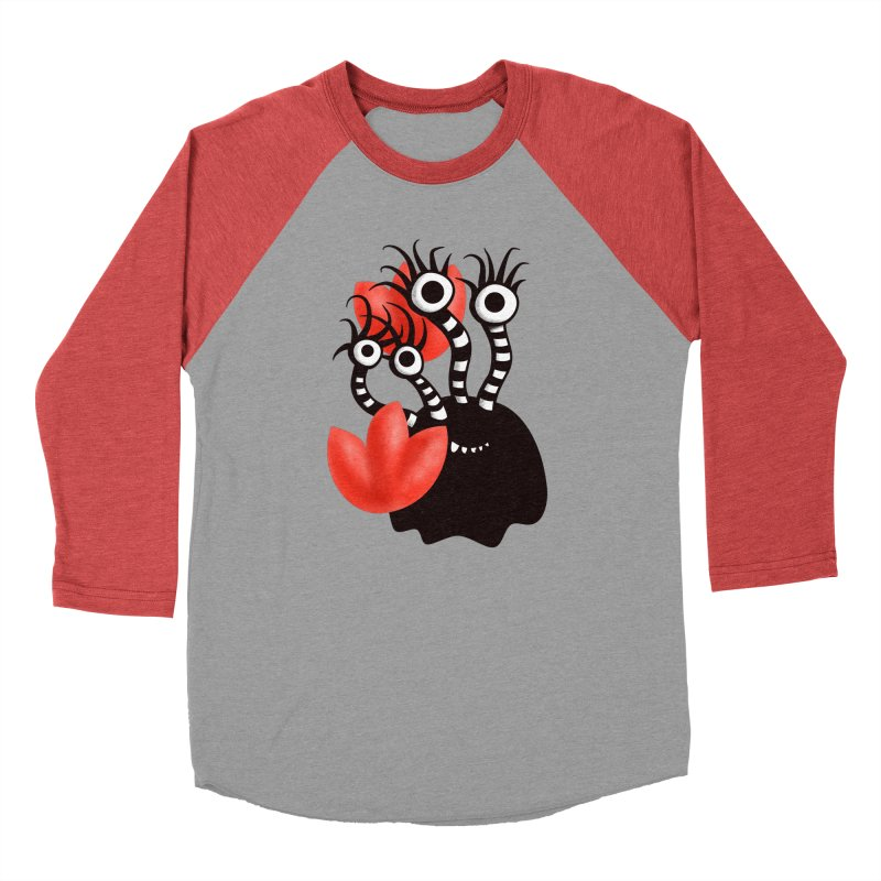 Cute Black Monster With Abstract Tulips Men's Baseball Triblend Longsleeve T-Shirt by Boriana's Artist Shop