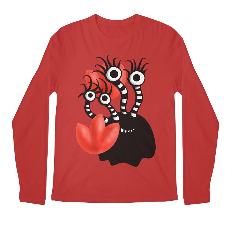 Cute Black Monster With Abstract Tulips Men's Regular Longsleeve T-Shirt by Boriana's Artist Shop