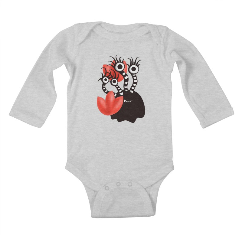 Cute Black Monster With Abstract Tulips Kids Baby Longsleeve Bodysuit by Boriana's Artist Shop
