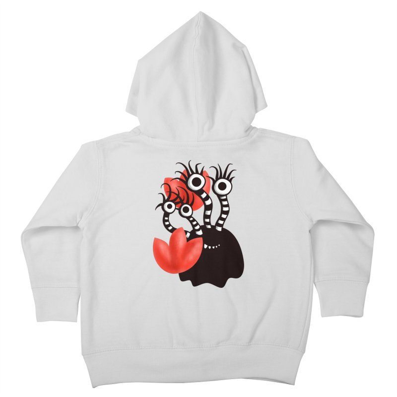 Cute Black Monster With Abstract Tulips Kids Toddler Zip-Up Hoody by Boriana's Artist Shop