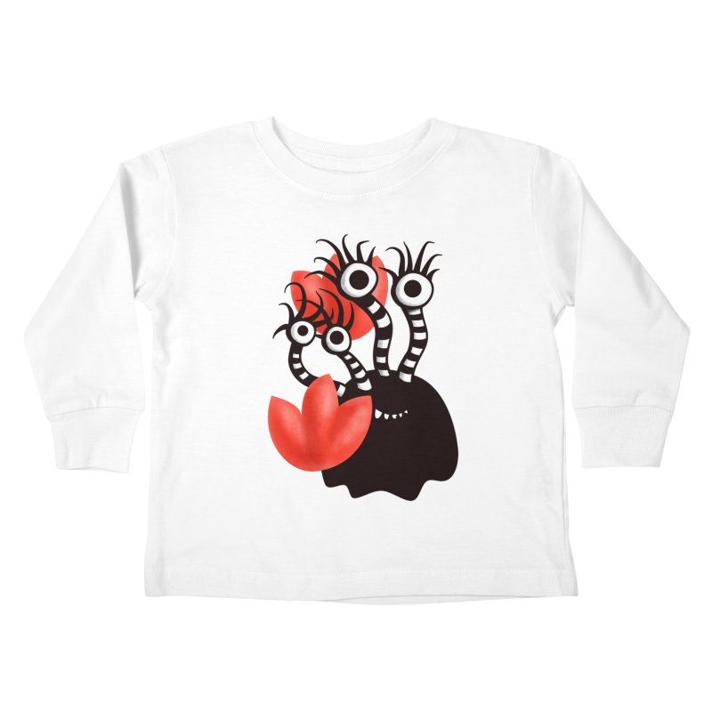 Cute Black Monster With Abstract Tulips Kids Toddler Longsleeve T-Shirt by Boriana's Artist Shop