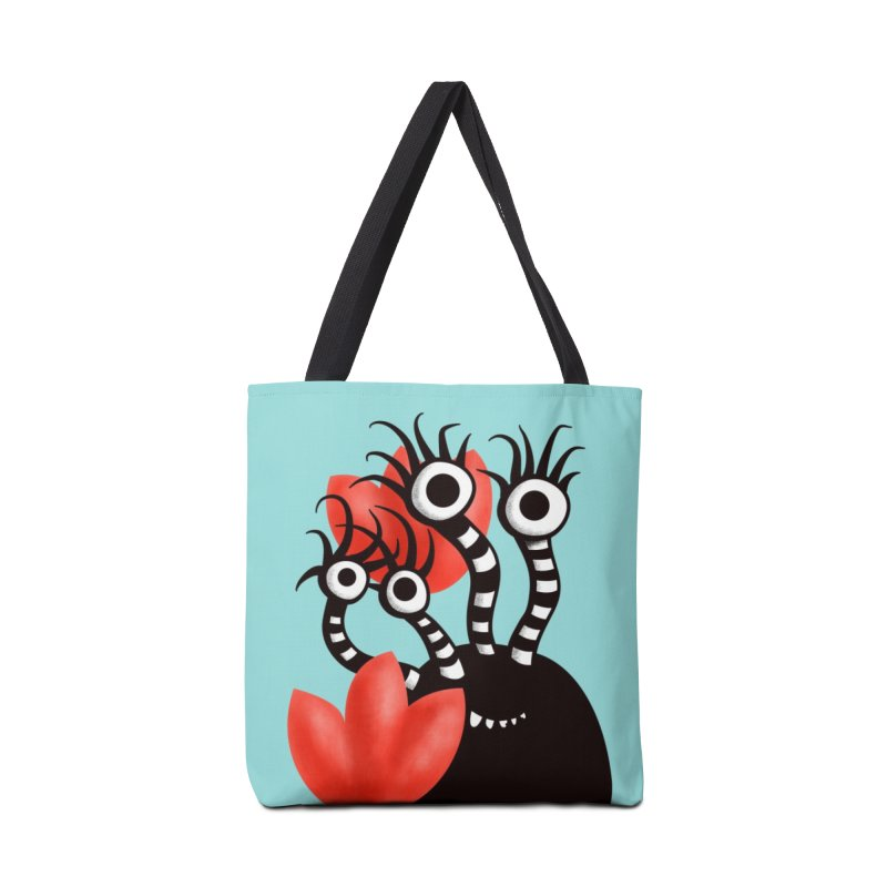 Cute Black Monster With Abstract Tulips Accessories Tote Bag Bag by Boriana's Artist Shop