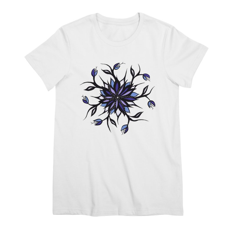 Gothic Floral Mandala Monsters And Teeth Women's Premium T-Shirt by Boriana's Artist Shop