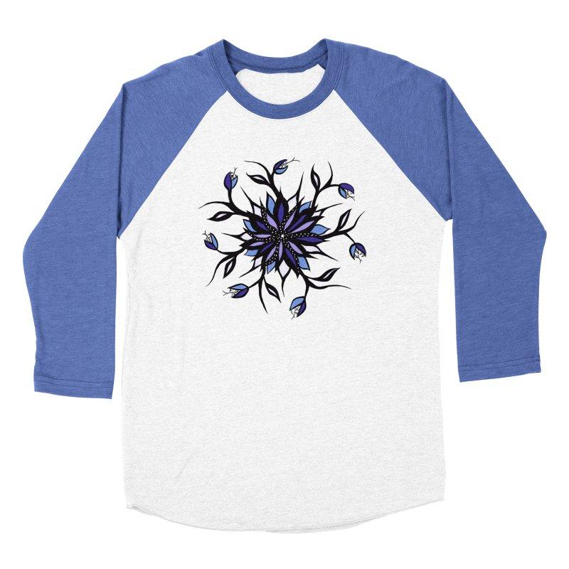 Gothic Floral Mandala Monsters And Teeth Women's Baseball Triblend Longsleeve T-Shirt by Boriana's Artist Shop
