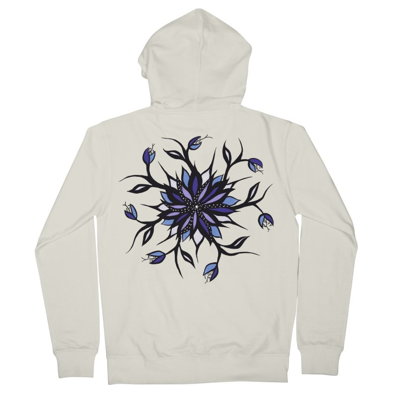 Gothic Floral Mandala Monsters And Teeth Women's French Terry Zip-Up Hoody by Boriana's Artist Shop