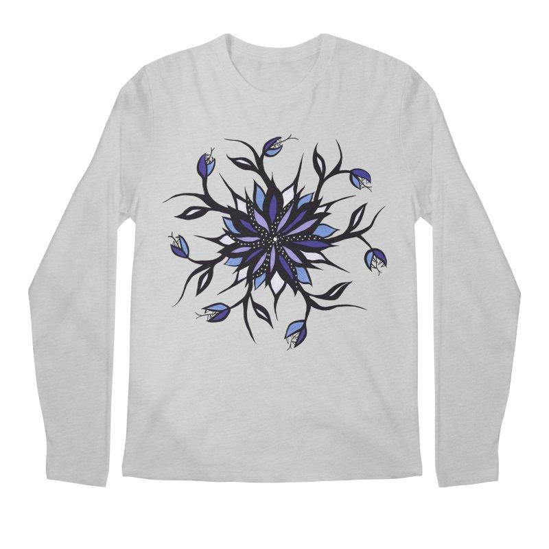 Gothic Floral Mandala Monsters And Teeth Men's Regular Longsleeve T-Shirt by Boriana's Artist Shop