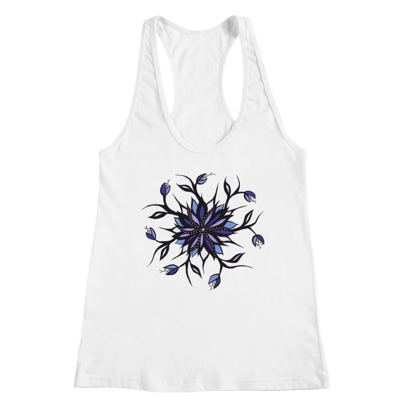 Gothic Floral Mandala Monsters And Teeth Women's Racerback Tank by Boriana's Artist Shop