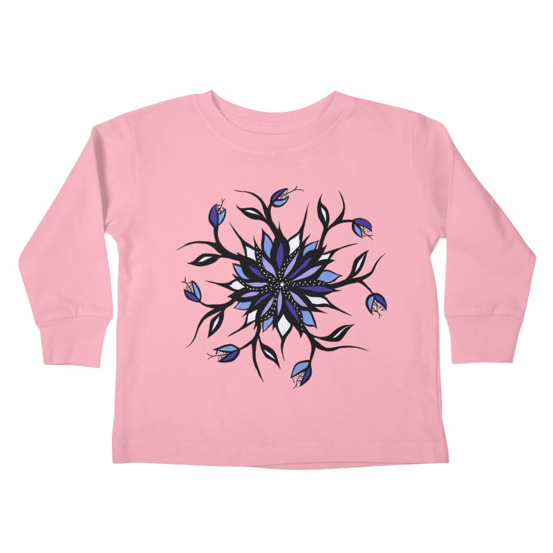 Gothic Floral Mandala Monsters And Teeth Kids Toddler Longsleeve T-Shirt by Boriana's Artist Shop
