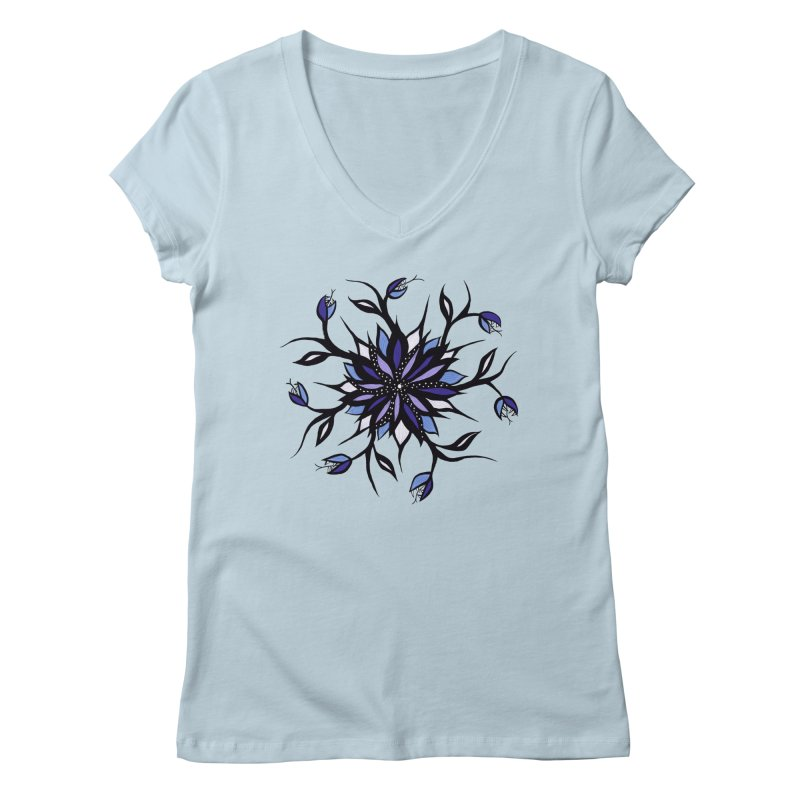Gothic Floral Mandala Monsters And Teeth Women's Regular V-Neck by Boriana's Artist Shop