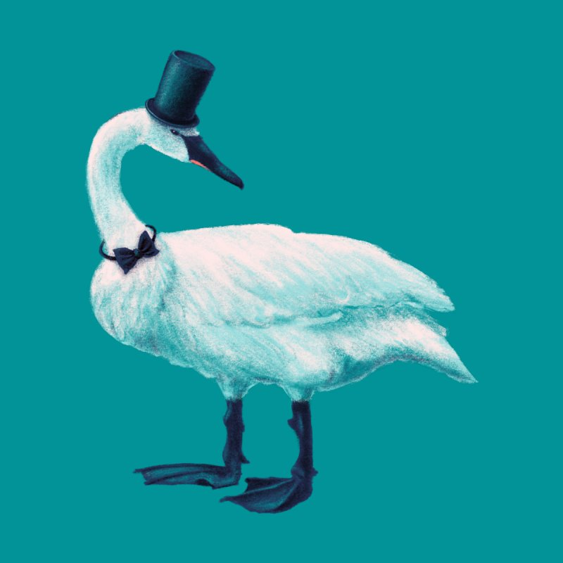 Funny Swan With Bowtie And Top Hat by Boriana's Artist Shop