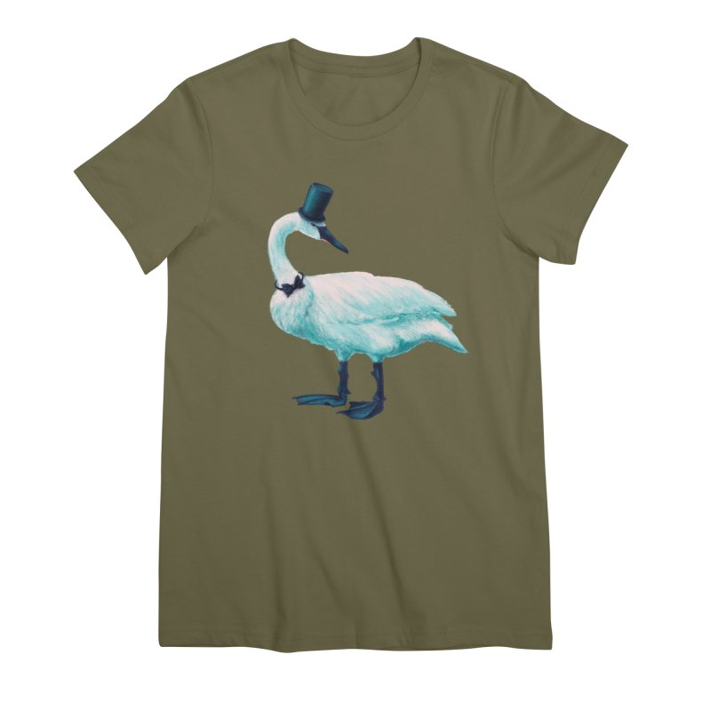 Funny Swan With Bowtie And Top Hat Women's Premium T-Shirt by Boriana's Artist Shop