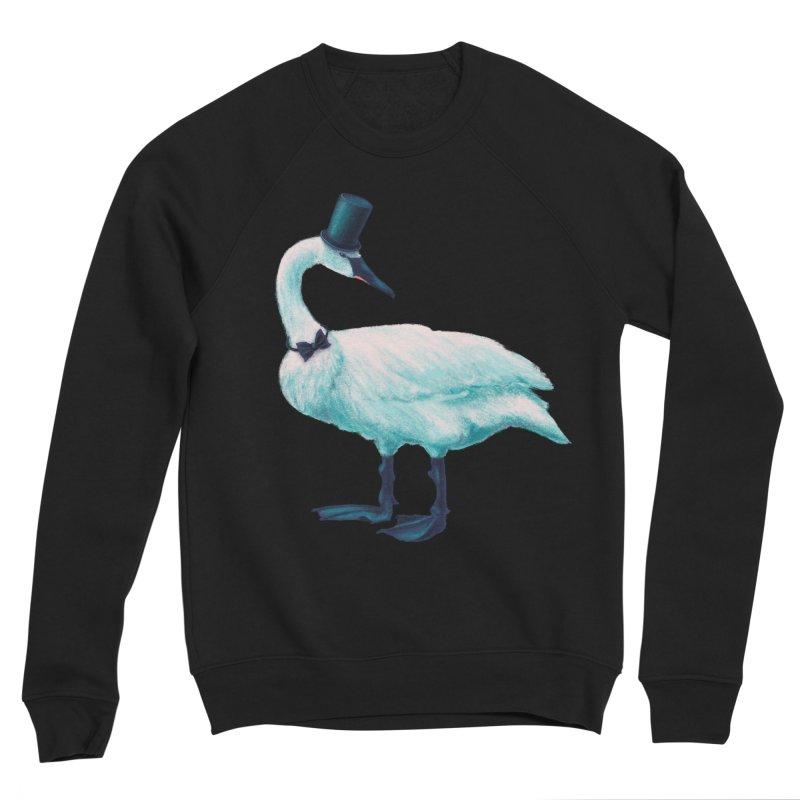 Funny Swan With Bowtie And Top Hat Women's Sponge Fleece Sweatshirt by Boriana's Artist Shop