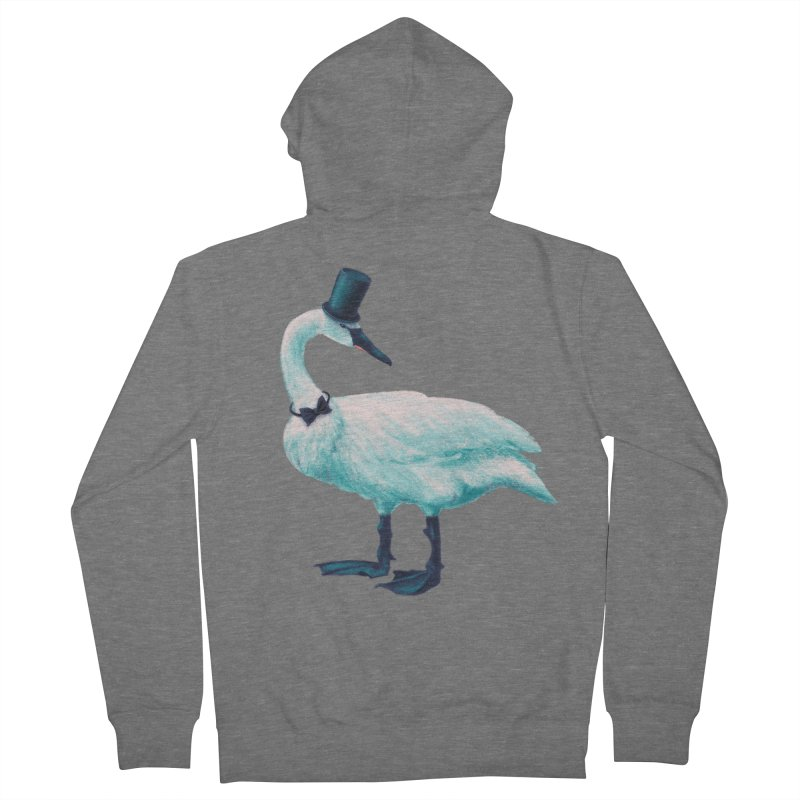 Funny Swan With Bowtie And Top Hat Women's French Terry Zip-Up Hoody by Boriana's Artist Shop