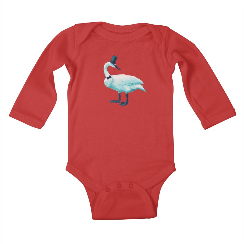 Funny Swan With Bowtie And Top Hat Kids Baby Longsleeve Bodysuit by Boriana's Artist Shop