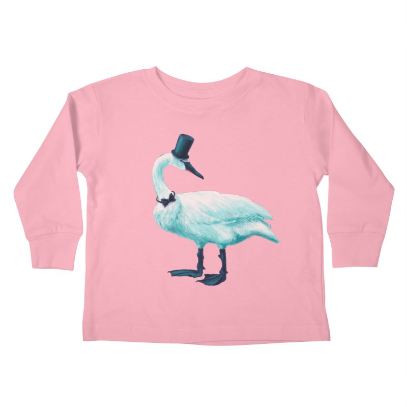 Funny Swan With Bowtie And Top Hat Kids Toddler Longsleeve T-Shirt by Boriana's Artist Shop