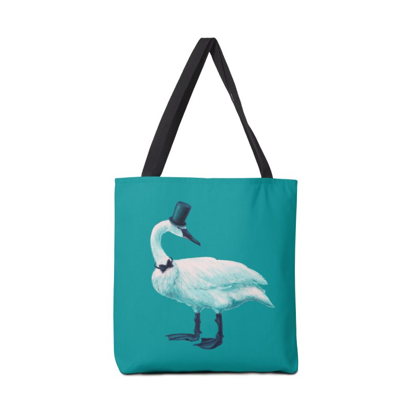 Funny Swan With Bowtie And Top Hat Accessories Tote Bag Bag by Boriana's Artist Shop