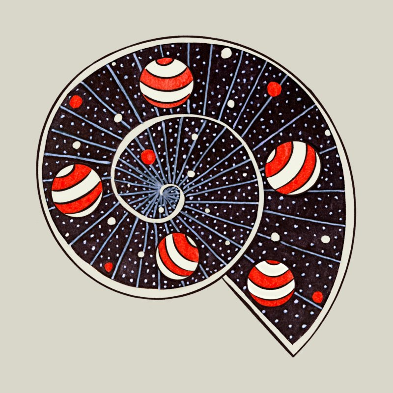 Spiral Galaxy Snail With Beach Ball Planets by Boriana's Artist Shop