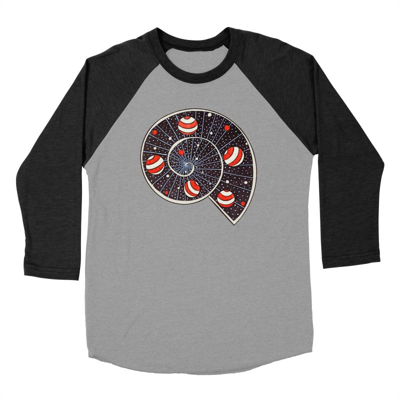 Spiral Galaxy Snail With Beach Ball Planets Men's Baseball Triblend Longsleeve T-Shirt by Boriana's Artist Shop