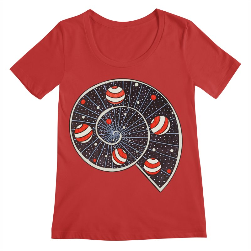 Spiral Galaxy Snail With Beach Ball Planets Women's Regular Scoop Neck by Boriana's Artist Shop